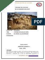 Informe de Geoquimica SALIDA de CAMPO