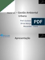 Aula 01 e 02– Gestão Ambiental UrbanaSM