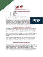 Factors Effecting Evaporation Productivity