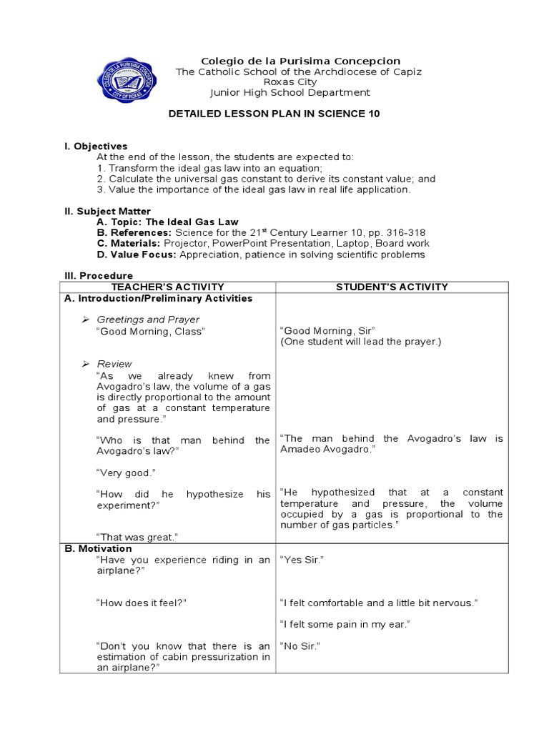 DetailedLessonPlaninScience Docx Gases Mathematical - 21st century lesson plan template