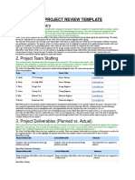10. Post Project Review Template
