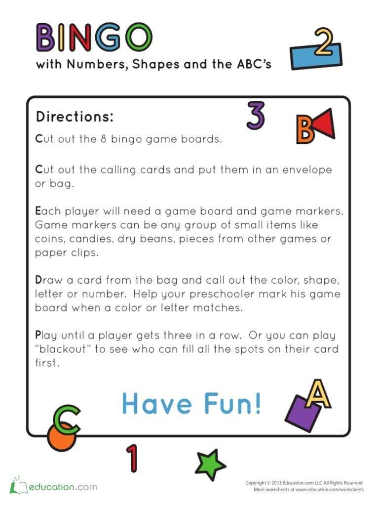 Alphabet Number Shape Bingo Pdf Gambling Games Of Chance