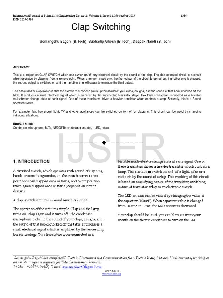 Clap-Switching.pdf | Bipolar Junction Transistor | Transistor