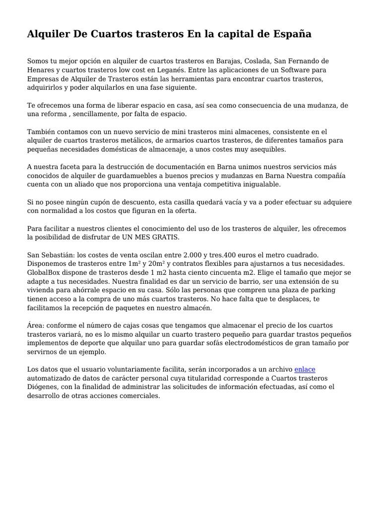 Alquiler De Cuartos trasteros En la capital de España