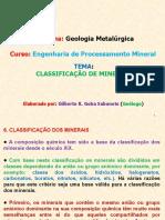 Geol. Met. Cap.6 Ppt Classificacao de Minerais.