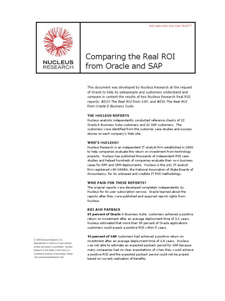 Comparison ROI Oracle SAP pdf | Oracle Corporation | Sap Se
