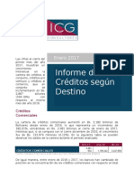 Informe de Créditos Según Destino Enero 2017
