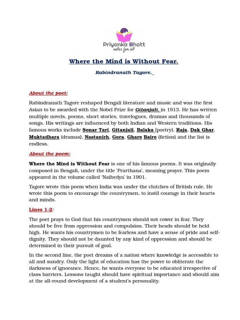 Where the Mind is Without Fear (Summary and Questions and
