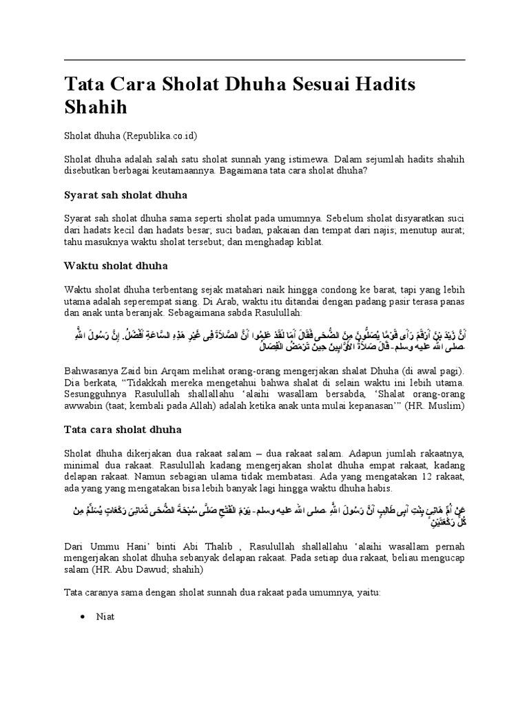 Tata Cara Sholat Dhuha Sesuai Hadits Shahih