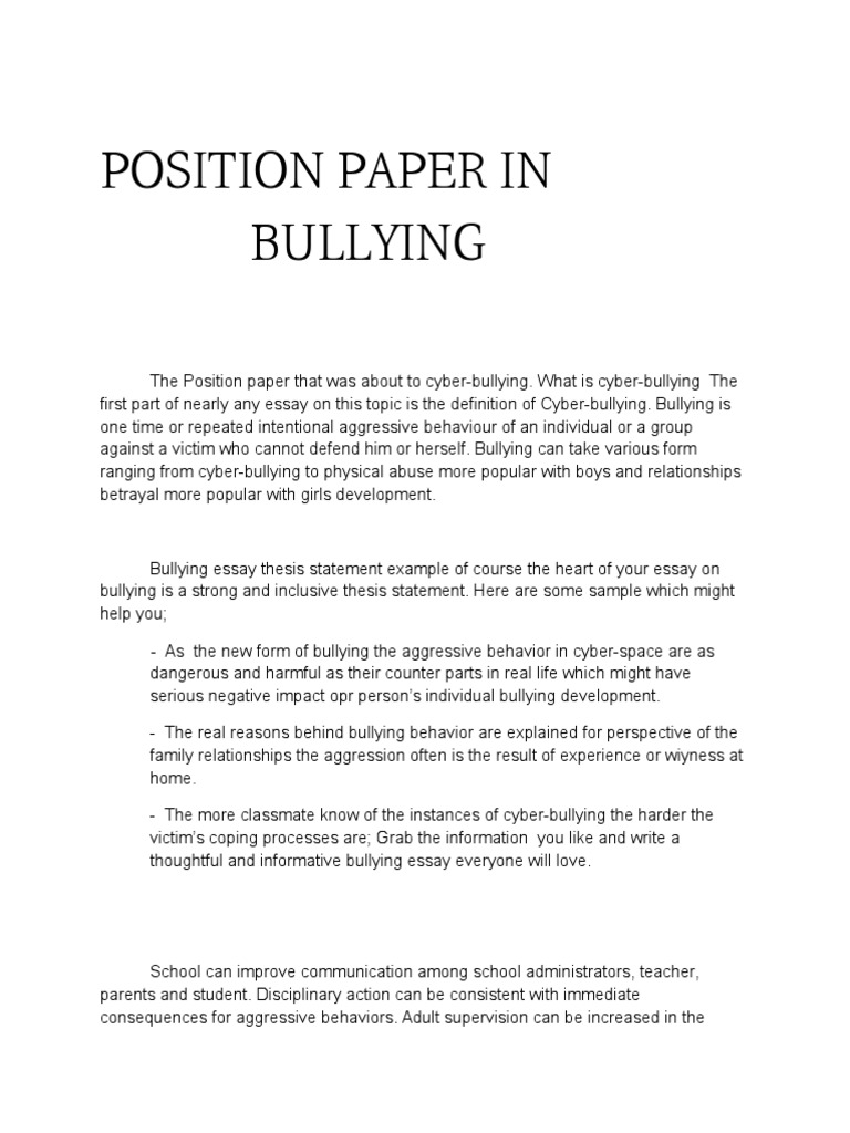 English Essay Ideas  How To Use A Thesis Statement In An Essay also Best English Essay Topics Position Paper Example About Bullying  Floss Papers Pollution Essay In English