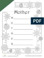 Acrostic Poem Mother Worksheet