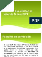 Factores de Corrección Del Valor de N Del SPT