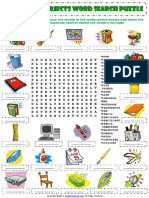 Classroom Objects Esl Vocabulary Word Search Puzzle Worksheet for Kids
