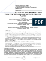 COMPARATIVE STUDY ON BIOGAS PRODUCTION FROM COW DUNG, FOOD WASTE AND ORGANIC WASTES