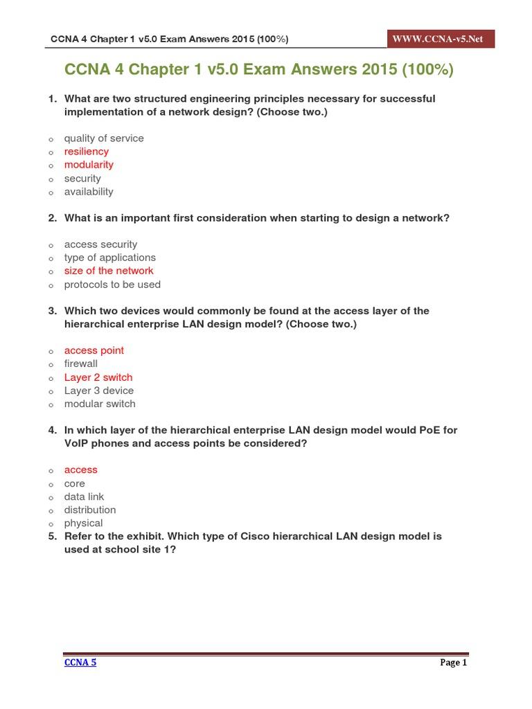 CCNA 4 Chapter 1 v5 0 Exam Answers 2015 100   Cisco Career