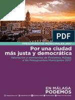Por una ciudad más justa y democrática. Valoración y enmiendas de Podemos Málaga a los Presupuestos Municipales 2017.