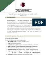 Quantitative Analysis -Course Outline