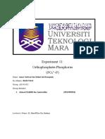 Experiment 11 (Orthophosphate-Phosphorus)