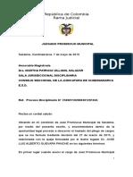 Disciplinario de Leonor Villamizar y Jose Guevara Panche vs Juez Prom Mpal Sasaima 7 de Mayo de 2015
