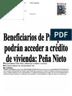 11Marzo2017 Beneficíarios deProspera Podrán Acceder a Crédito de Vivienda