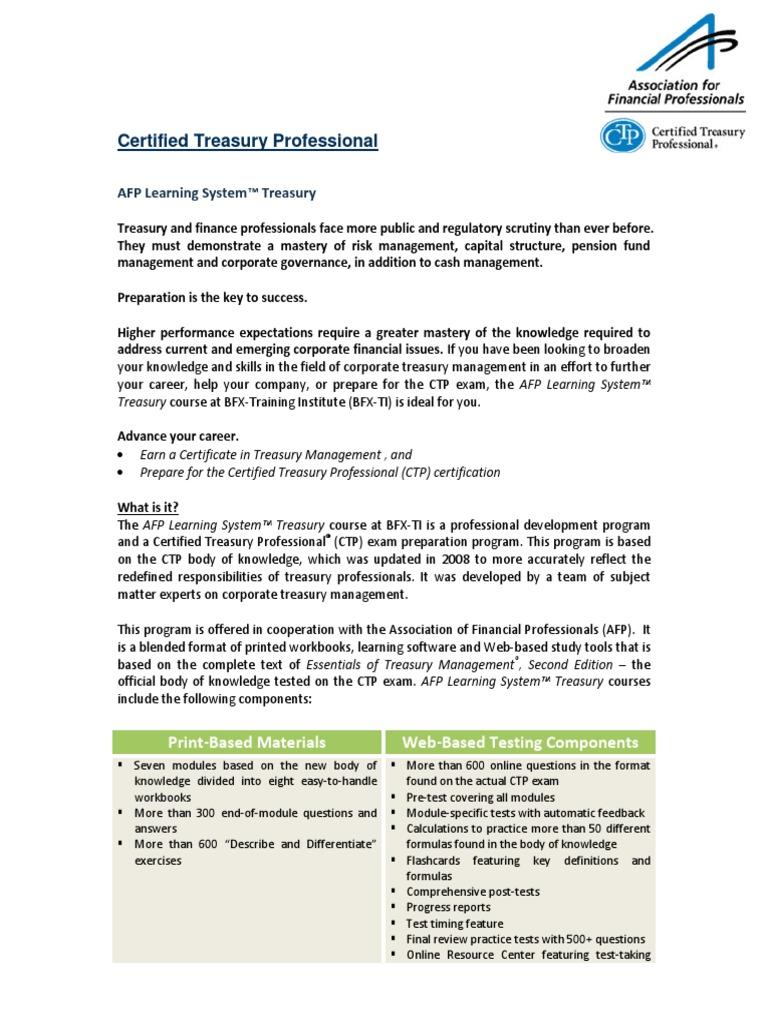 Ctp Brochure Test Assessment Professional Certification