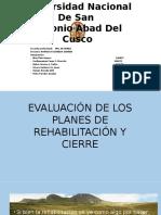 Evaluación de Los Planes de Rehabilitación y Cierre