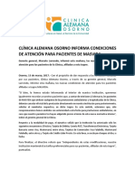 Comunicado Clínica Alemana de Osorno