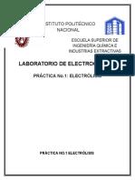 Práctica Electrólisis