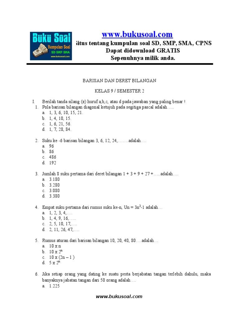 Ilmu Pengetahuan 10 Contoh Soal Pola Bilangan Kelas 8 Beserta Jawabannya