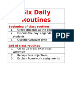 six classroom routines