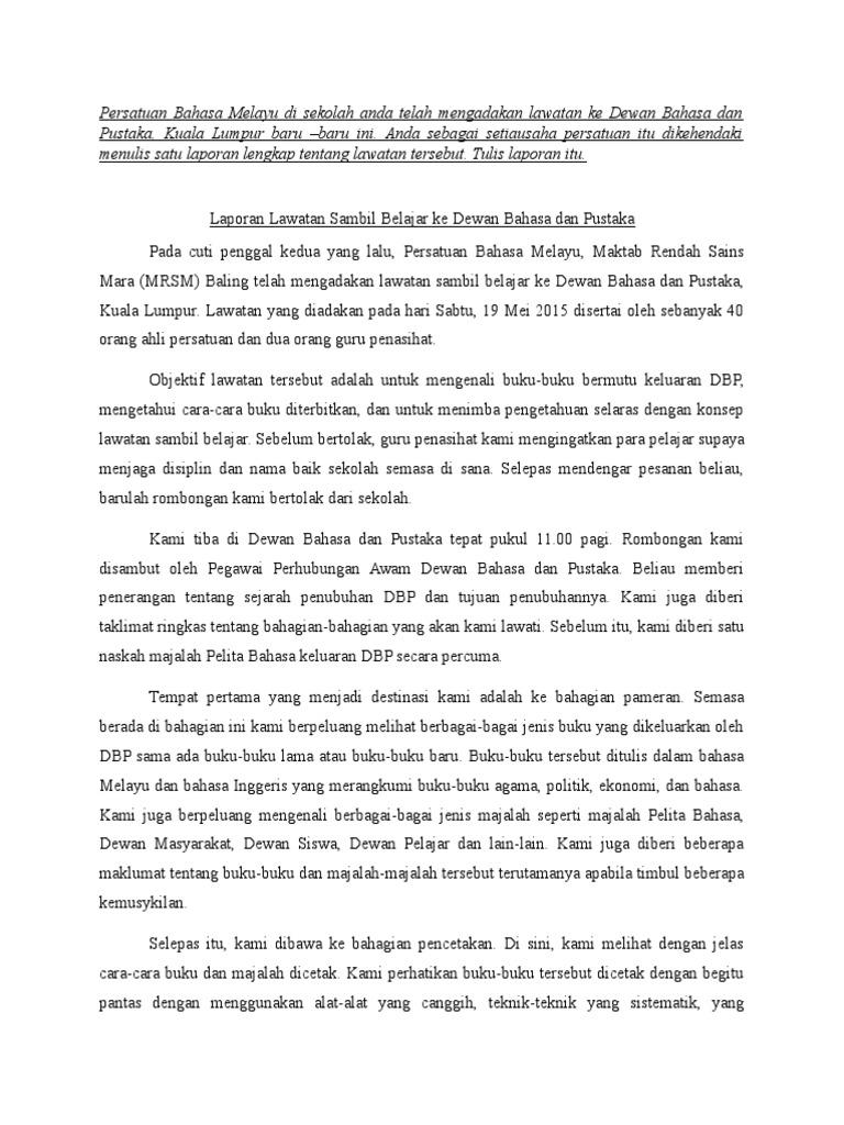 Bahasa Melayu Contoh Karangan Laporan Pt3