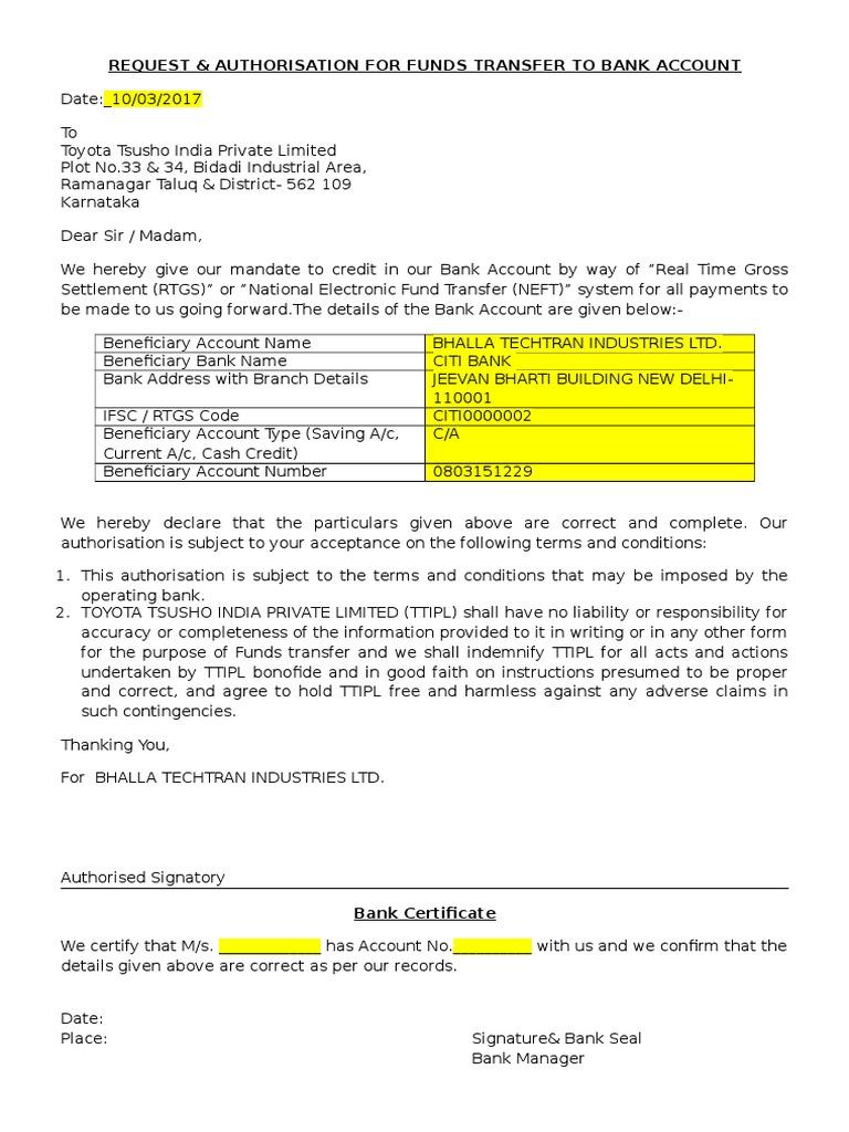 Rtgs Request Letter Format Docx
