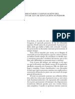 Proyecto de Ley de Educación Superior, Comentado y Explicado
