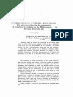 1971 - Joaquim Barradas de Carvalho Conhecimento, História, Realidade. Por Uma Nova História Do Pensamento (a Propósito Da Reedição de La Méditerranée... de Fernand Braudel