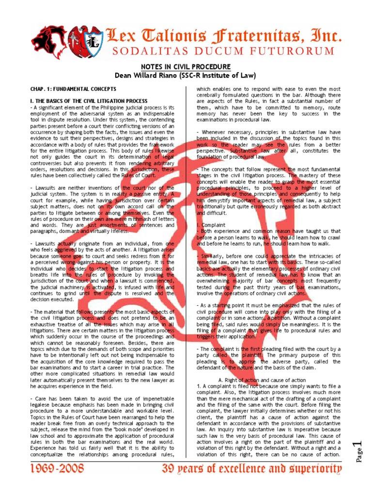 Civil Procedure Dean Riano | Pleading | Complaint