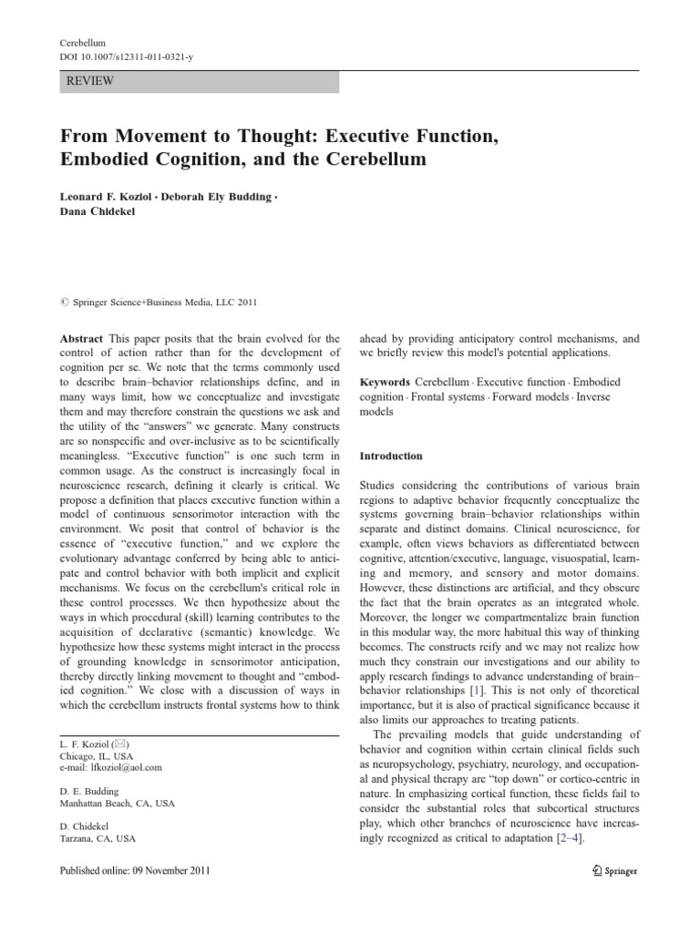 Movement to thought cerebellum executive functions fandeluxe Choice Image