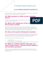 Bipolar Junction Transistors (BJTs) Questions and Answers