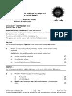 NEBOSH IGC2 Past Exam Paper September 2012