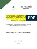 Estrategias de Enseñanza y Resolución de Problemas Matemáticos Según La Percepción de Estudiantes Del Cuarto Grado de Primaria..