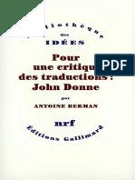 Pour Une Critique Des Traductions John Donne (1)
