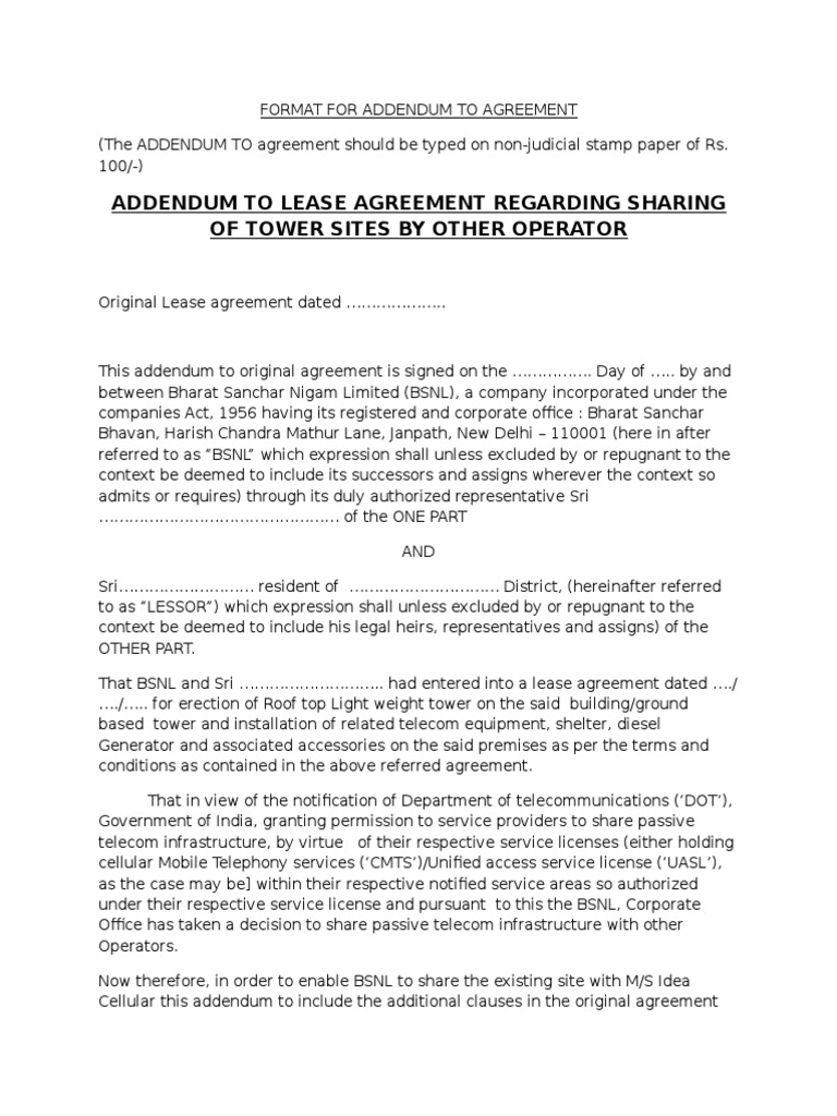 Agreement Lease Taxes