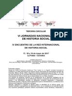 TERCERA CIRCULAR- VI Jornadas Nacionales de Historia Social