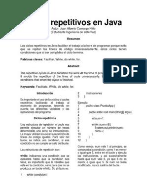 Artículo Ciclos Repetitivos En Java Java Linguagem De