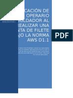 Calificación de Soldadura en Una Junta en Filete Bajo La Norma Aws d1 2 (1)