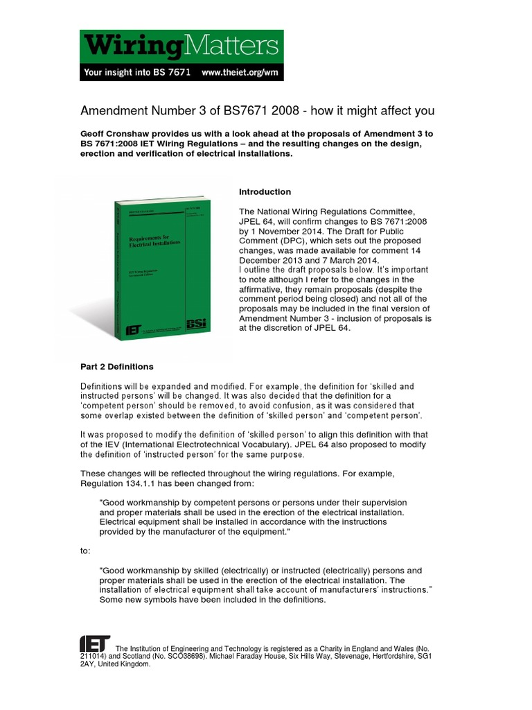 Amendment No 3 Electrical Wiring Cable Iee Regulations 17th Edition 2