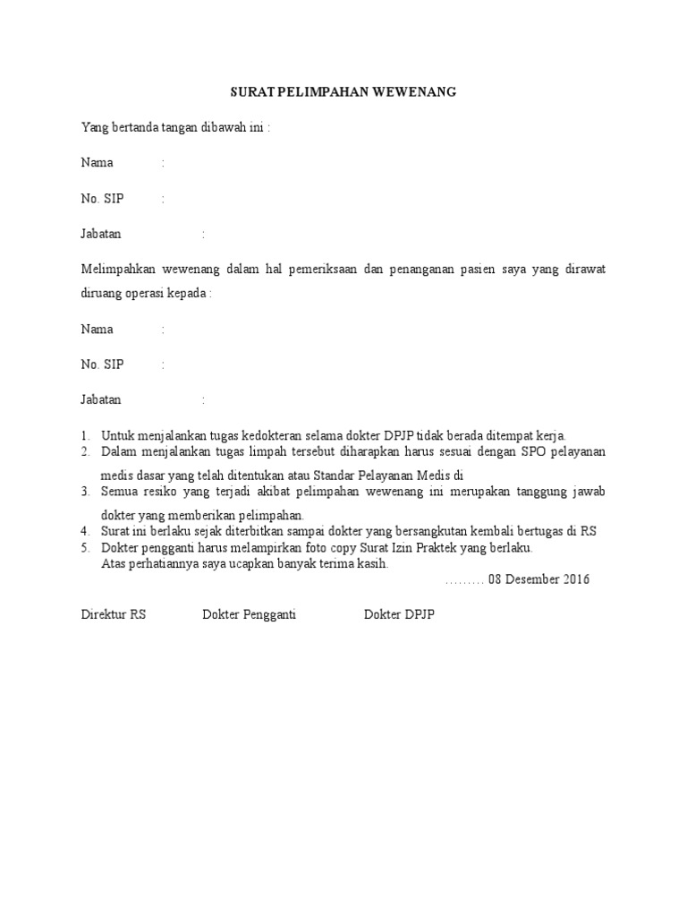 Contoh Surat Pelimpahan Wewenang Dokter