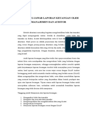 Tanggung Jawab Laporan Keuangan Oleh Manajemen Dan Auditor