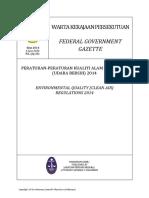 Malaysia - Environmental Quality (Clean Air) Regulations 2014