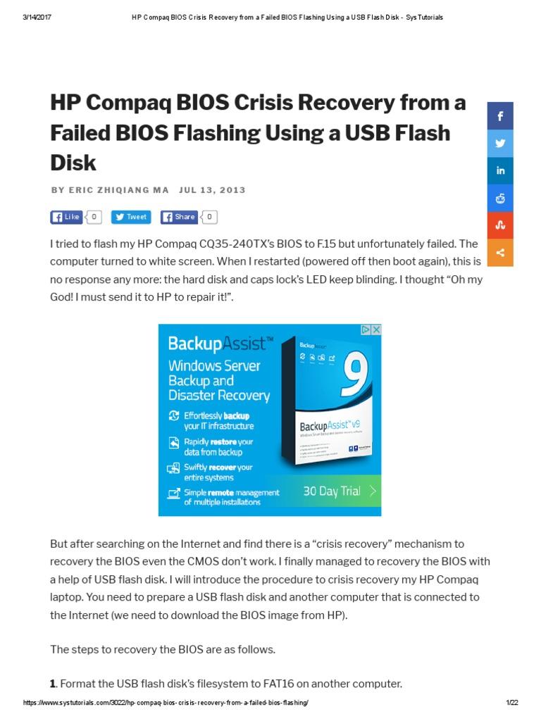 HP Compaq BIOS Crisis Recovery From a Failed BIOS Flashing