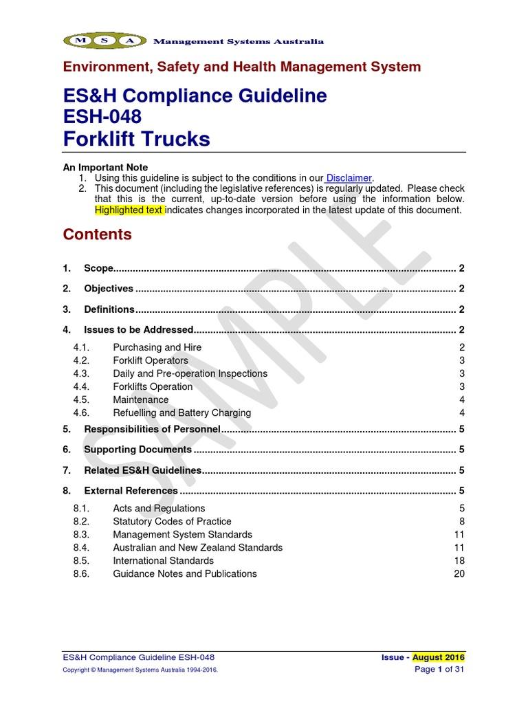 Esh 048 Forklifts Forklift Dangerous Goods